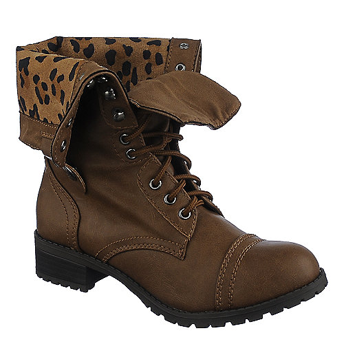 Shiekh Womens Oralee-S brown leopard fold over combat boot