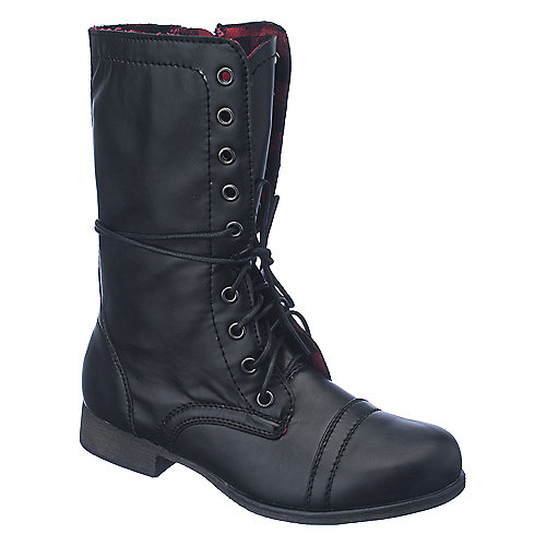 Shiekh Womens Heat-1 black fold over lace up combat boot