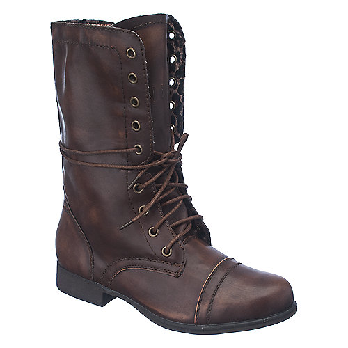 Shiekh Womens Heat-1 brown leopard fold over combat boot