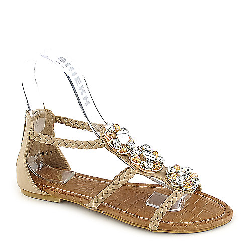 Shiekh Gianni-S nude flat jeweled sandal