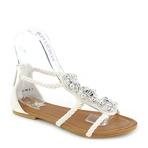 Shiekh Gianni-S white flat jeweled sandal
