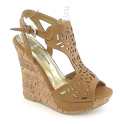 Diva Lounge Madison-62 cognac platform slingback wedge