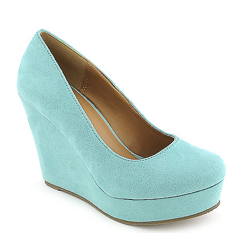 Soda Beer-S aqua blue platform wedge pump