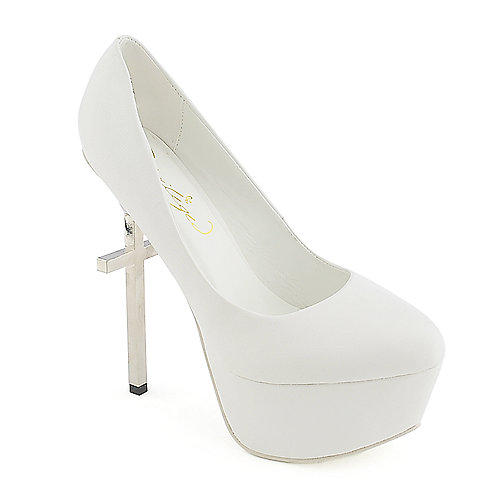 Privileged Mystery white platform high heel pump