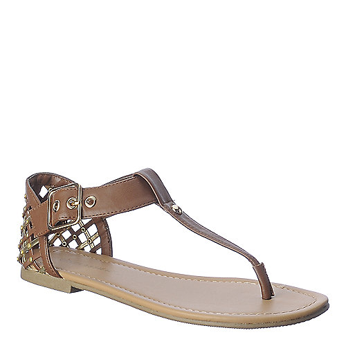 City Classified Apple-S tan thong flat sandal