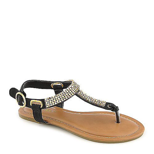 Bamboo Kids Javier-01K black flat jeweled thong sandal
