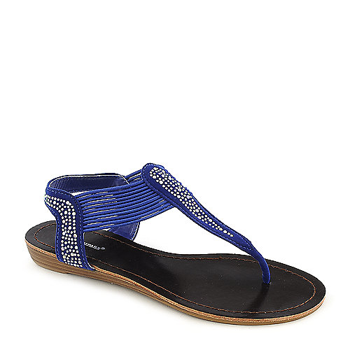 Pierre Dumas Austin 4 blue low wedge thong sandal
