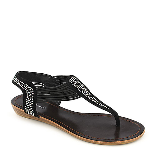 Pierre Dumas Austin 4 black low wedge thong sandal