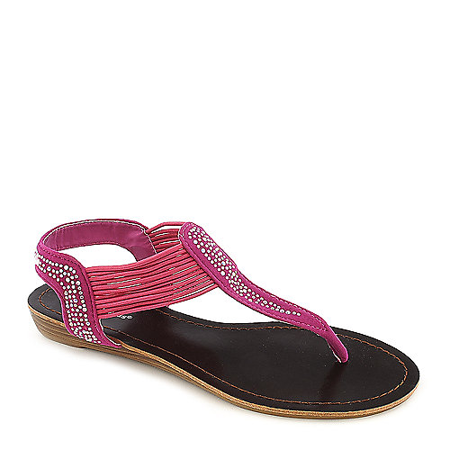 Pierre Dumas Austin-4 fuschia low wedge thong sandal