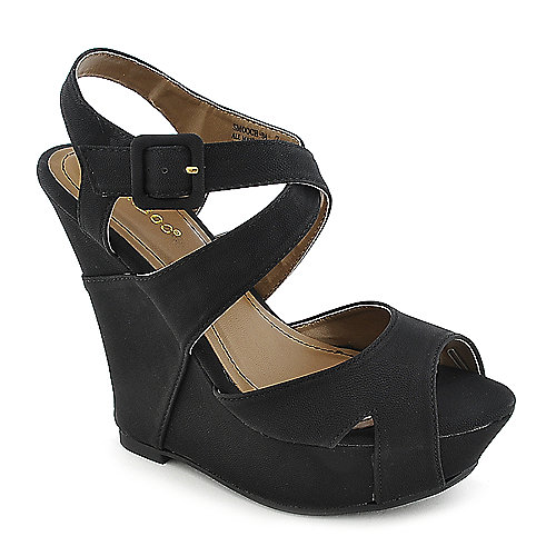 Bamboo Smooch-34 black platform wedge