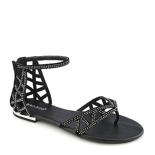 Bamboo Ambra-21 black jeweled thong sandal
