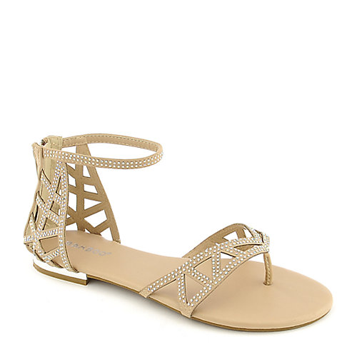 Bamboo Ambra-21 nude jeweled thong sandal