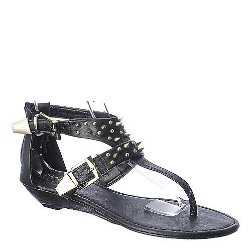 c58416b52e8e Bamboo Dalinda-31 black thong wedge sandal