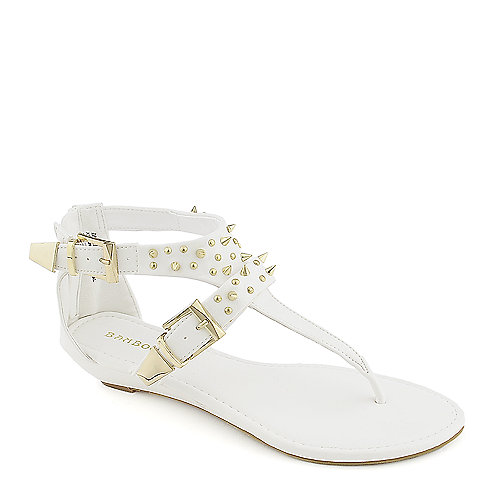 2701e4bead7f Bamboo Dalinda-31 white thong wedge sandal