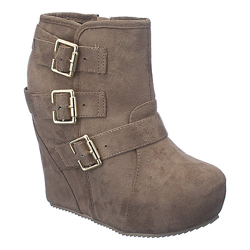 Shiekh Besso-S womens taupe platform ankle wedge boot
