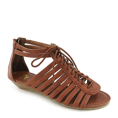 Shiekh Simon-1A cognac gladiator wedge sandal