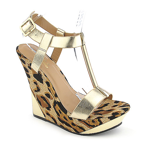 Glaze Verna-3 gold platform wedge dress shoe
