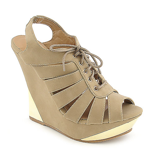 Glaze Verna-18 taupe platform wedge dress shoe