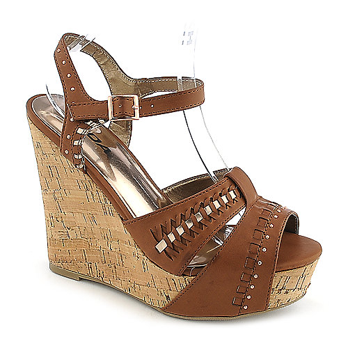 Soda Trant-S tan casual platform wedge shoe