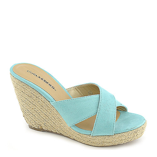 City Classified Mixer-H blue platform slip on espadrille wedge