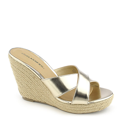City Classified Mixer-H gold platform slip on espadrille wedge