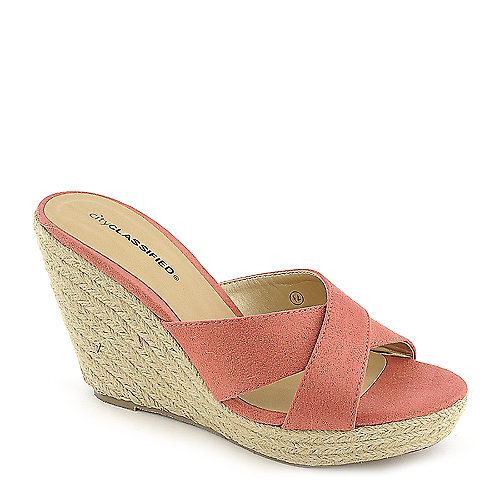 City Classified Mixer-H salmon platform slip on espadrille wedge