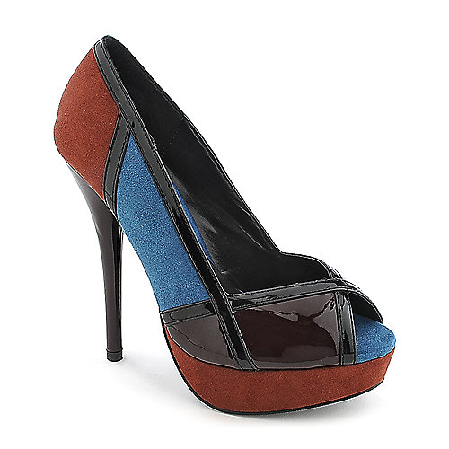 Delicious Womens Aloha-S burgundy color block high heel