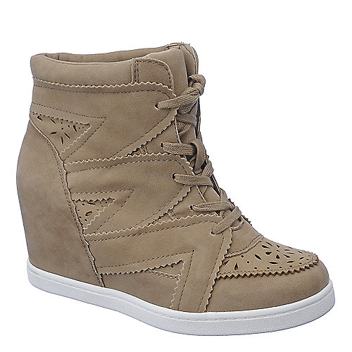 Wild Diva Lounge Sparkle-14 natural casual lace up sneaker wedge shoe
