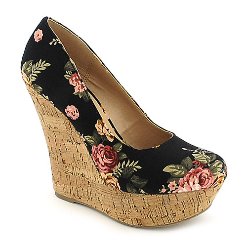 Delicious Meroz-S black slip on platform wedge