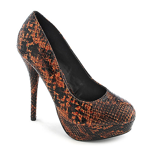 Delicious Jones-S orange platform animal print pump