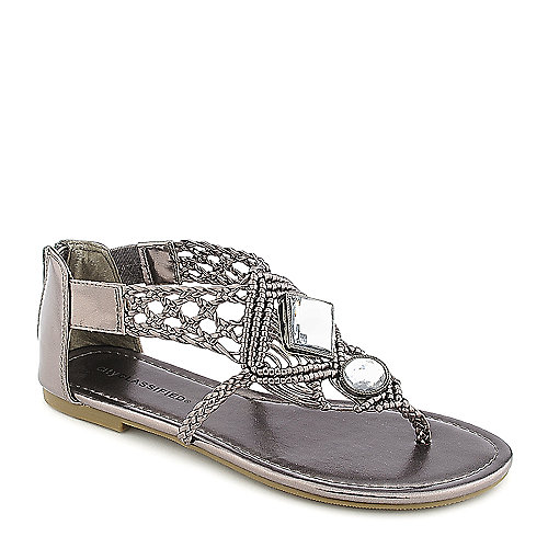 City Classified Edusa-S pewter flat jeweled thong sandal