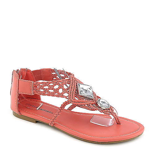 City Classified Edusa-S salmon flat jeweled thong sandal