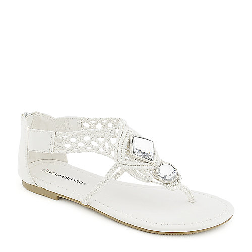 City Classified Edusa-S white flat jeweled thong sandal