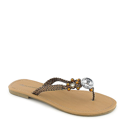 City Classified Maine-S bronze flat thong jeweled sandal