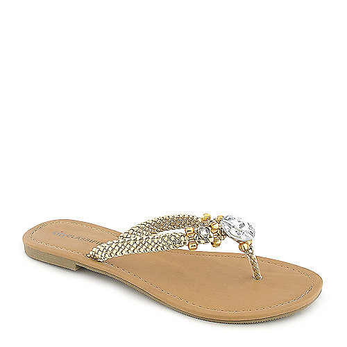 City Classified Maine-S gold flat thong jeweled sandal