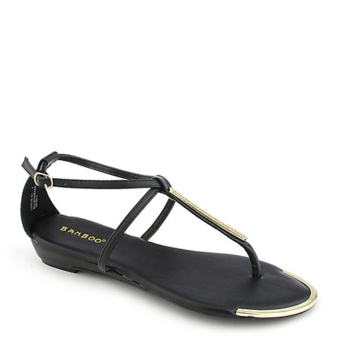 Bamboo Lottie-51 black thong wedge sandal