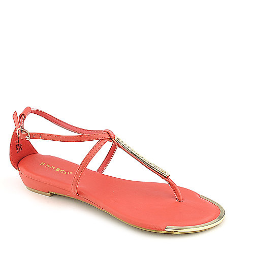 Bamboo Lottie-51 coral thong wedge sandal
