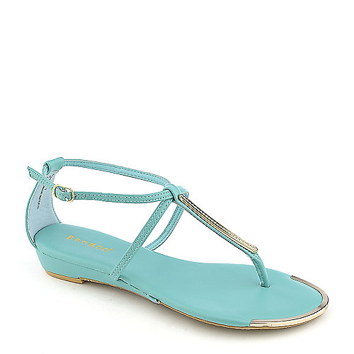 Bamboo Lottie-51 aqua blue thong wedge sandal