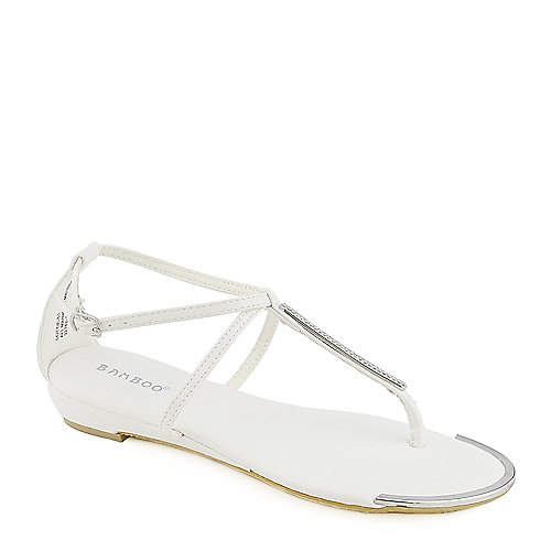 Bamboo Lottie-51 white thong wedge sandal