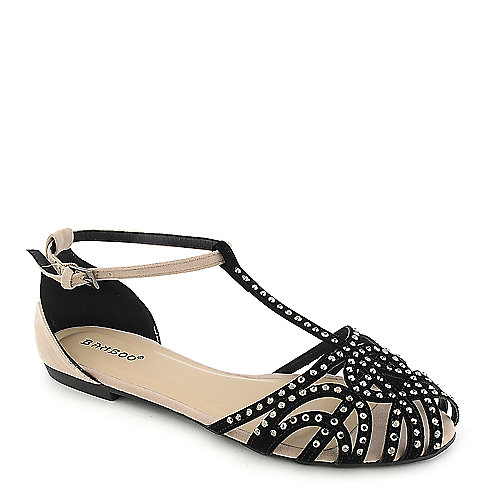 Bamboo Lynna-01 black flat jeweled sandal