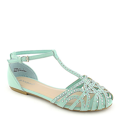 Bamboo Lynna-01 mint flat jeweled sandal