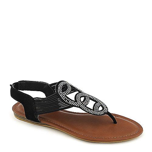 Bamboo Mason-07 black flat thong sandal