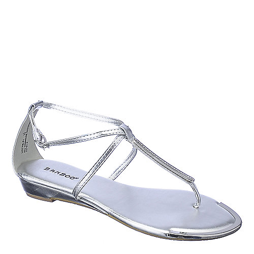 Bamboo Lottie-51 silver wedge thong sandal