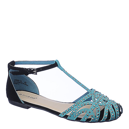 67ddb30c1 Bamboo Lynna-01 aqua blue flat jeweled sandal