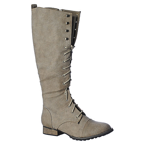 Breckelles Outlaw-13 womens knee high low heel combat boot