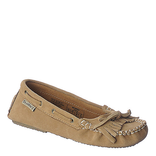 Bearpaw womens tan casual flat slip on shoe