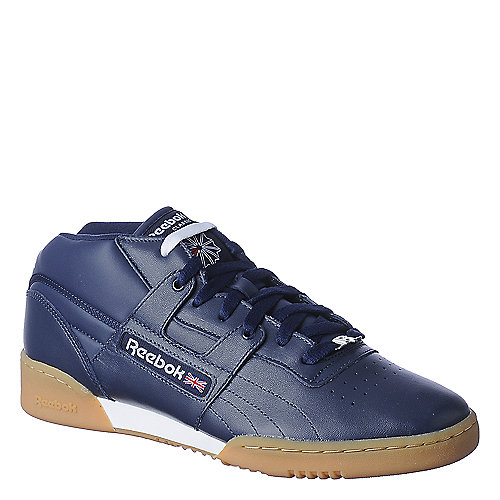 Reebok Mens Workout Mid Gum navy casual athletic sneaker
