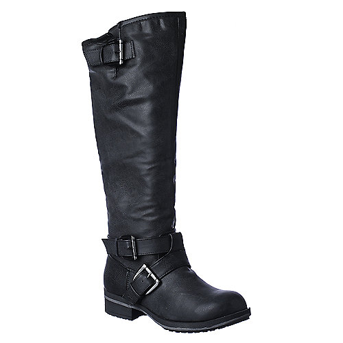 Madden Girl Legacie womens black mid calf riding boot