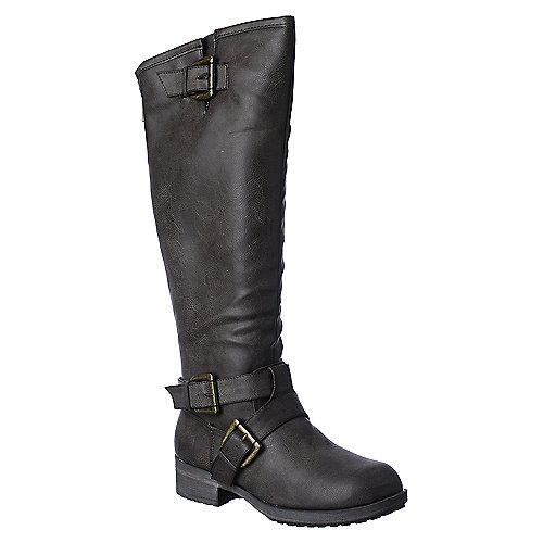 Madden Girl Legacie womens brown mid calf riding boot
