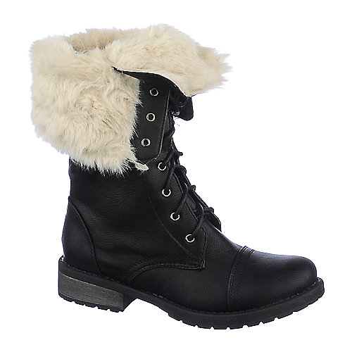 Shiekh Womens Pk-05 black fold over fur combat boot | Shiekh Shoes